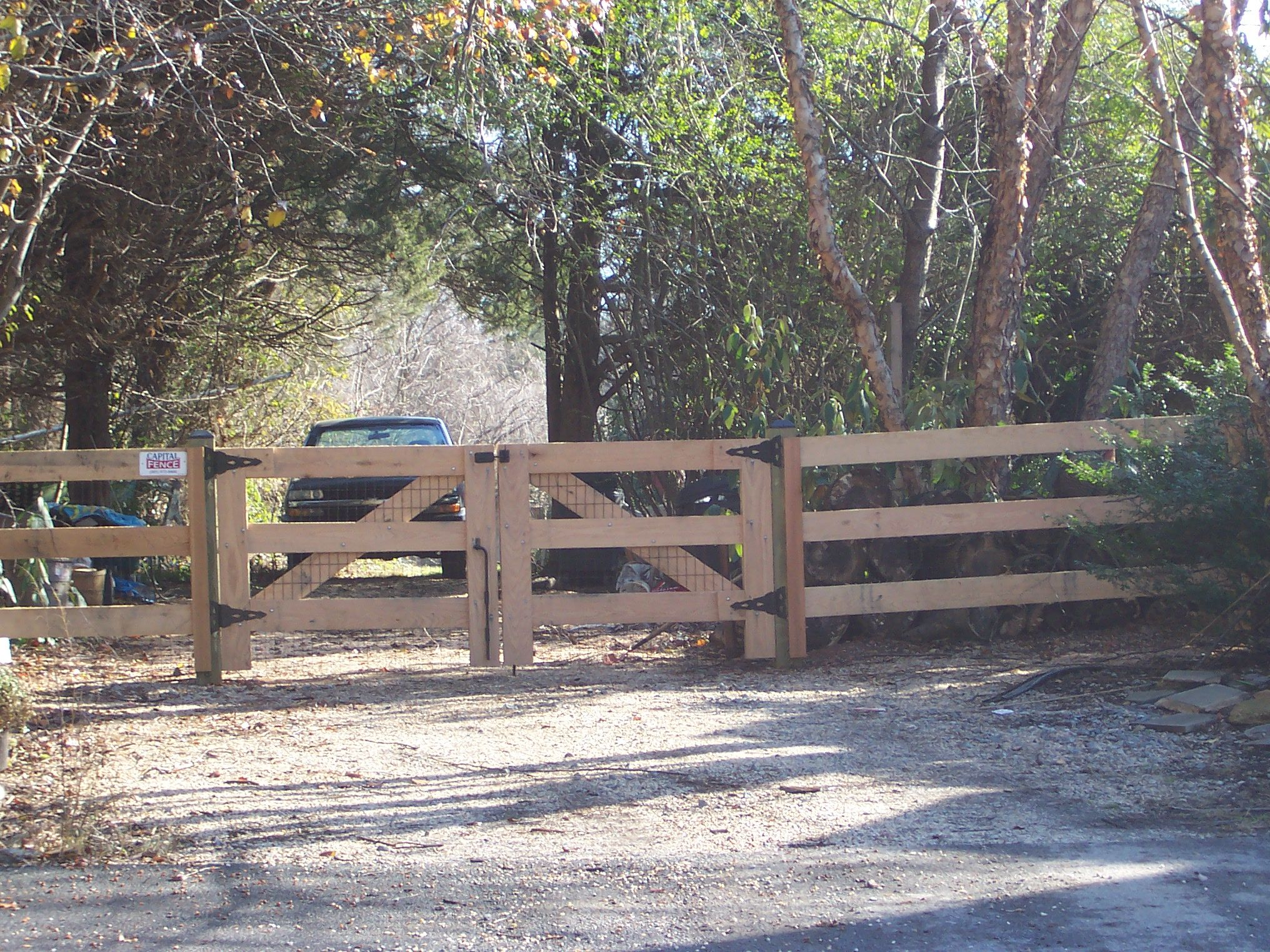 3 Board Oak Paddock Fence With Wire And Double Gate Backyard Porch Fence Outdoor