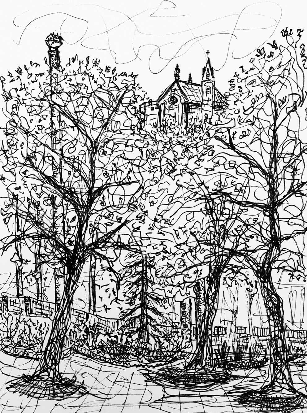 Ink Drawing by C.t. Rasmuss (2015).