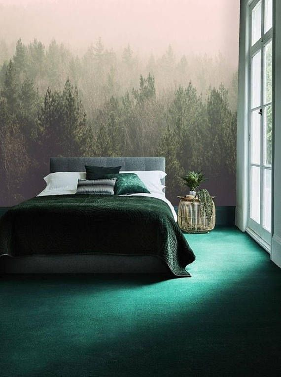 Misty Forest Self Adhesive Wallpaper Peel Stick Mural Removable Wallpaper Forest Wall Mural Bedroom Wall Paper Tree Temporary Decal 96 Interior Design Trends Interior Trend Bedroom Green