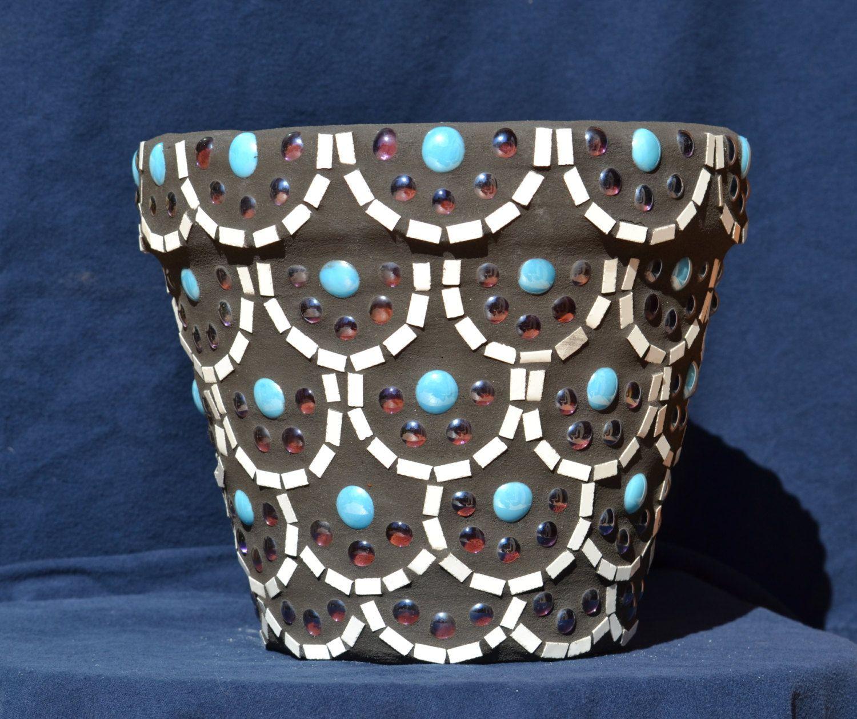 mosaic flower pots scallop design set of 2. Black Bedroom Furniture Sets. Home Design Ideas