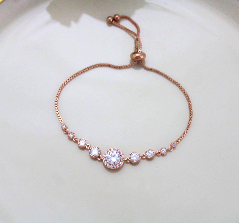 Dainty Bridal Bracelet Rose Gold Bracelet Bridal Jewelry Bridesmaid Bracelet Rose Gold Jewelry Wed Gold Bracelet Wedding Bridal Jewelry Rose Gold Bracelet