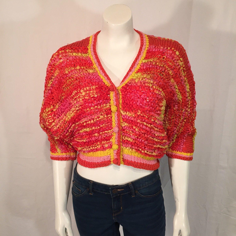 Vintage Designer Large L Ribbon Knit Sweater Bolero Orange Red ...