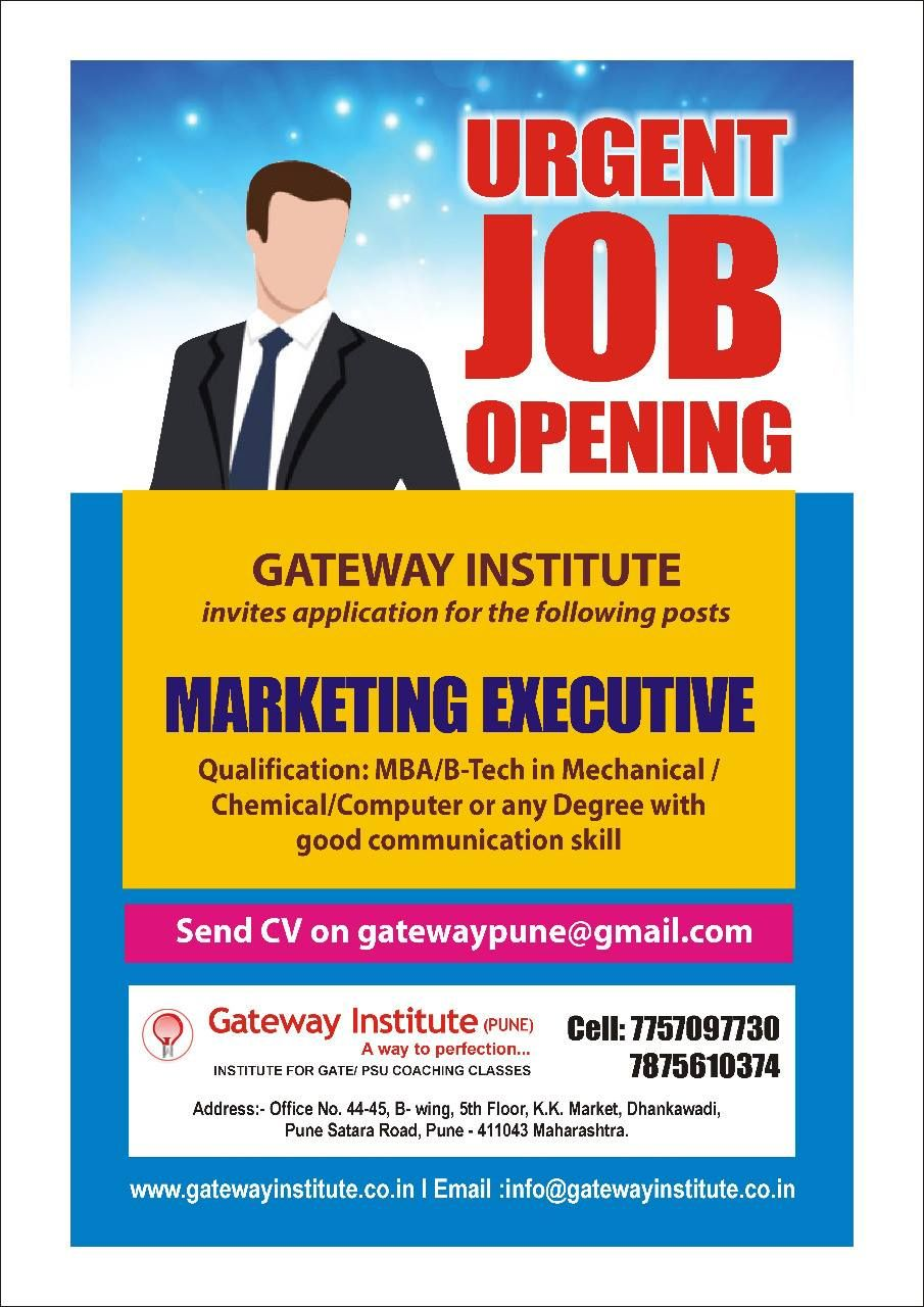 Urgent Job Opening for Marketing Executive, Qualification