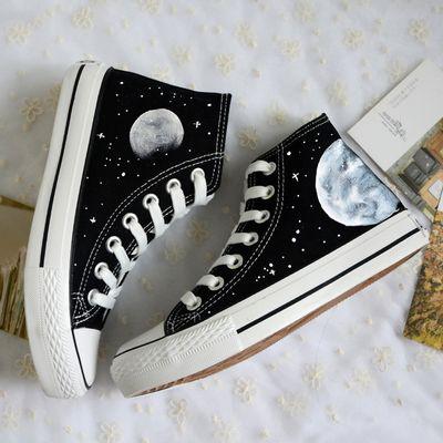 Harajuku Cosmic Moon Painted Shoes From Harajuku Fashion Sepatu