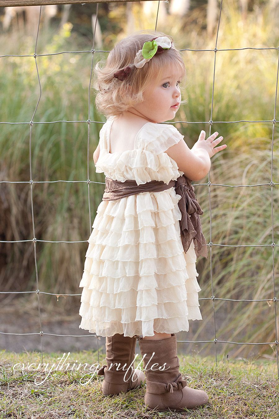 Country girl wedding dress  Babies to T  Ivory with Taupe Sash Flower Girl Dress by Everything