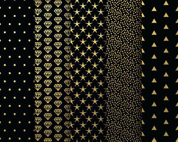 60 Off Sale Digital Papers Black And Gold Metallic Digital Blog