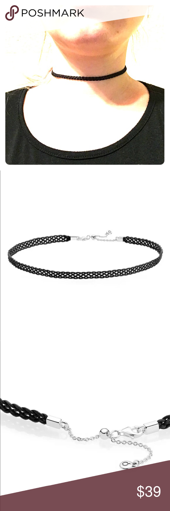 142848eb4 Black Woven Fabric Choker Necklace 12.5