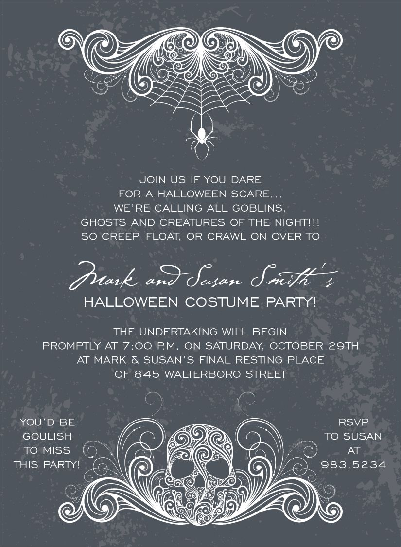 Spidery Skull Charcoal Halloween Invitations by Noteworthy