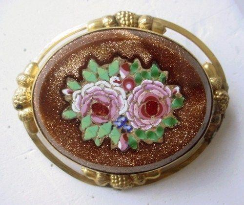 Antique Micro Mosaic Goldstone Brooch Acorns & Berries | AestheticsAndOldLace - Jewelry on ArtFire