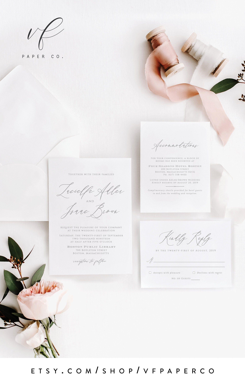 Modern Calligraphy Wedding Invitation Suite Template