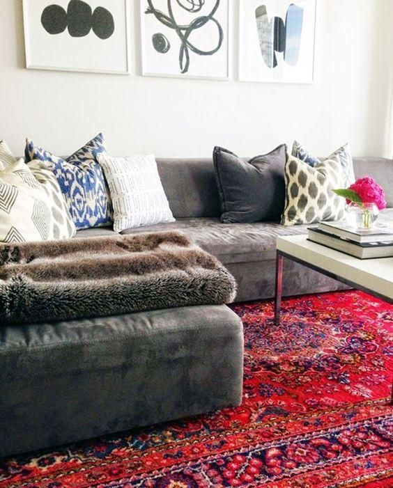 Decorating with oriental  persian rugs love this gorgeous living room  gray faux suede sectional sofa patterned and white throw pillows also stl apartment pinterest