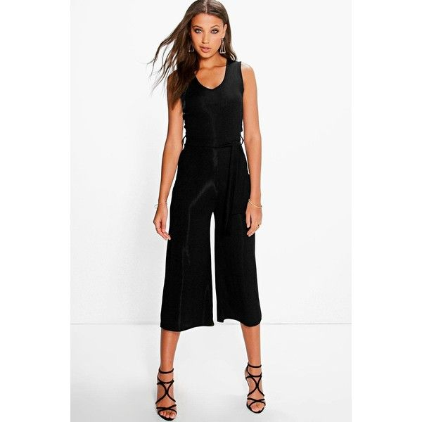 abdb21d7601f Boohoo Tall Tall Naomi Ribbed Tie Front Culotte Jumpsuit ( 26) ❤ liked on  Polyvore featuring jumpsuits