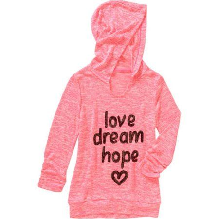 Miss Chievous Girls' Cinched Sleeve Scoop Neck Love Dream Hope Hoodie, Size: Medium, Pink