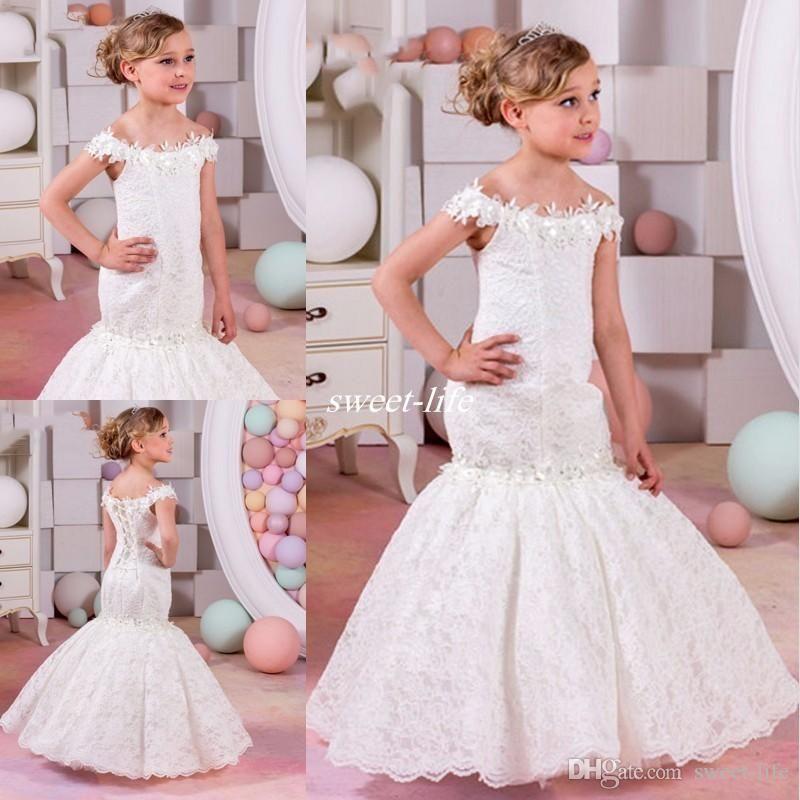 Vintage Mermaid Lace White Wedding Flower Girls Dress Off The