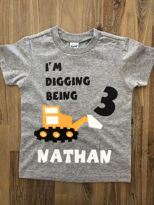 2278431df I'm digging being 3, Construction Birthday Shirt, tonka truck shirt, boys