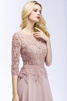 Misshow Robe Femme Longue Soirée Mariage avec Appliques Ajourée Dos Nu Manche 3/4 Elégante -   10 dress Brokat pendek ideas
