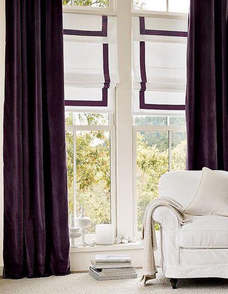 Pottery Barn Purple Curtains With Roman Shades  Dark Purple Curtains