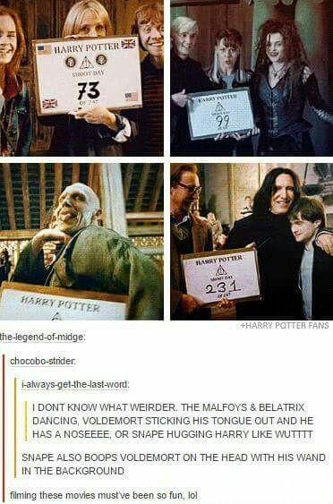 Harry Potter behind the scenes haha!! XDD