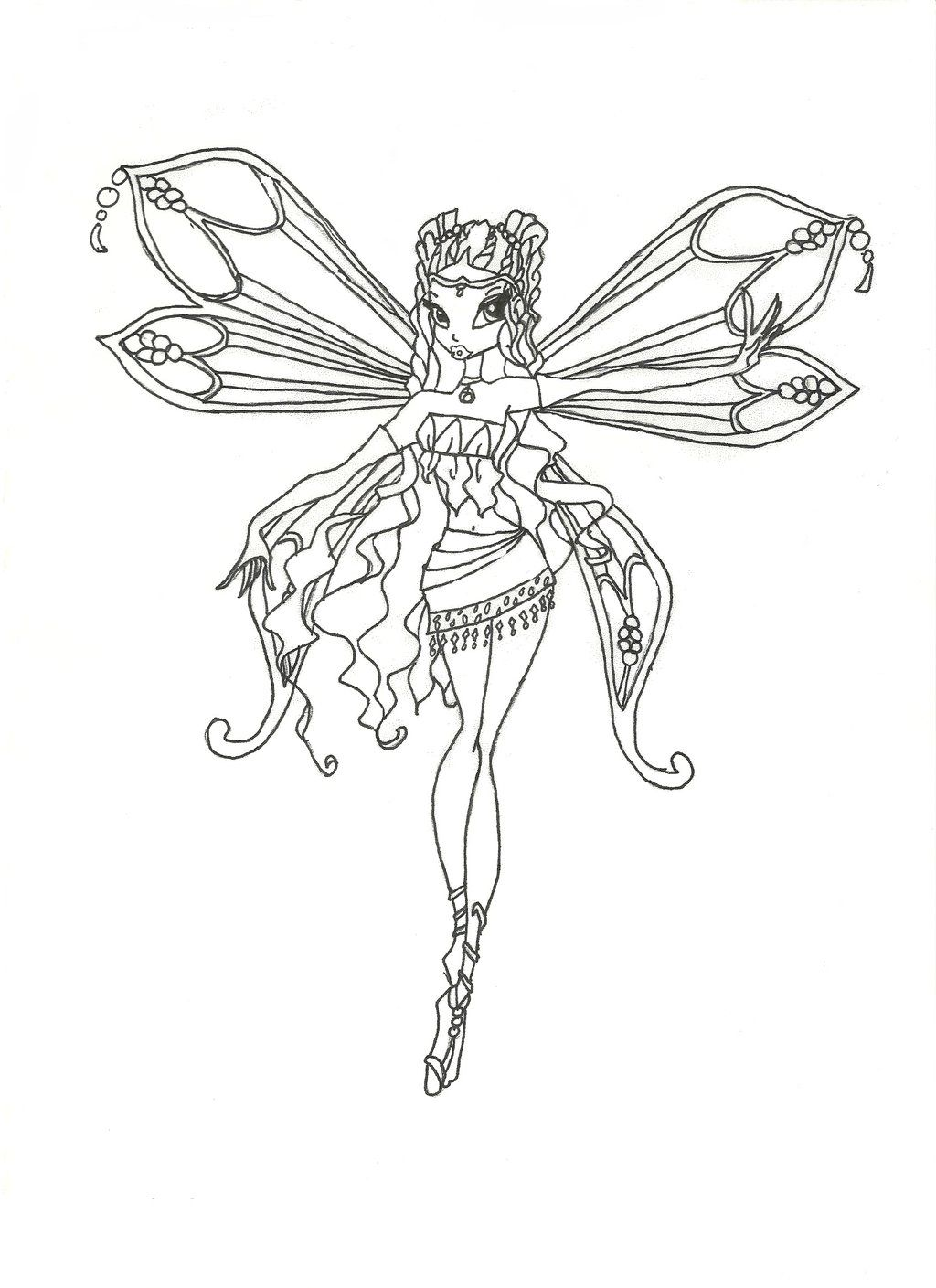 Kleurplaten Winx Enchantix.Winx Club Enchantix Layla Coloring Page By Winxmagic237 Deviantart