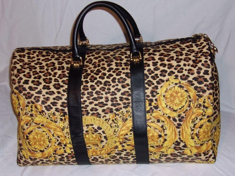 8f5e8206 Rare Vintage Gianni Versace Vintage BAROQUE Leopard Print Keepall ...