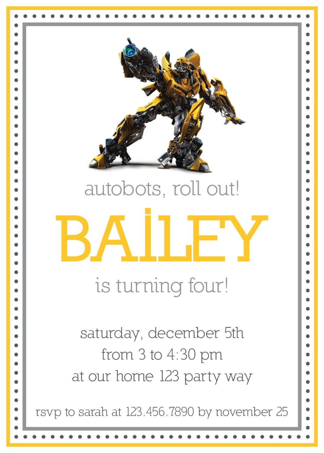 Transformers, Optimus Prime, or Bumblebee birthday invitation ...