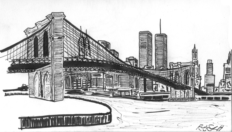 Line Art New York : New york city skyline tattoo bridge