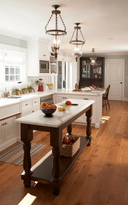 Countertop Island Wood And White Islands Can Still Work Well In Small Kitchens By Adding Counter E That May Be Lacking