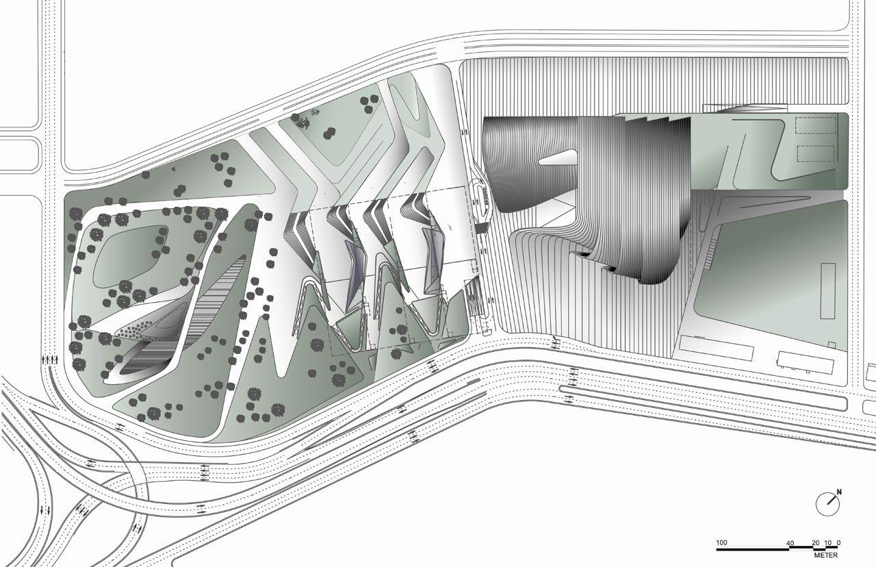 Heydar Aliyev Cultural Center Site Plans Planta Arquitetonica Planta Baixa Arquitetonico