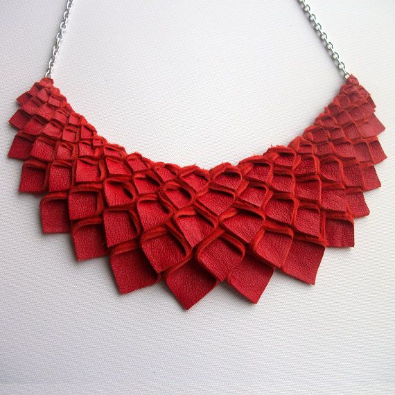Origami Collection:  Medium Red Leather Origami Necklace