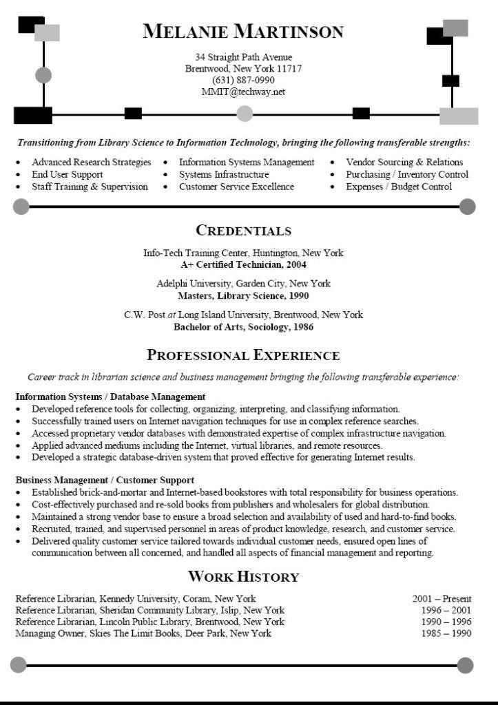 Career Change Resume Sample Librarian Resume Career Change Resume Job Resume Examples Cover Letter For Resume