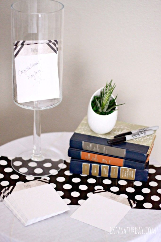 Black, White, & Metallic Graduation Party : Set up a station with notecard and pens to leave notes of congratulations, encouragement or advi...