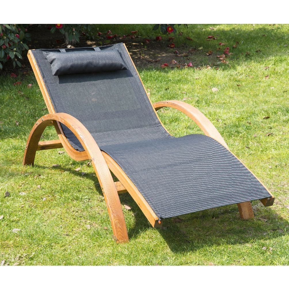 Outdoor wooden lounge chairs - Outsunny Outdoor Recliner Patio Mesh Lounger Wooden Chair With Cushion Black Type Reclining