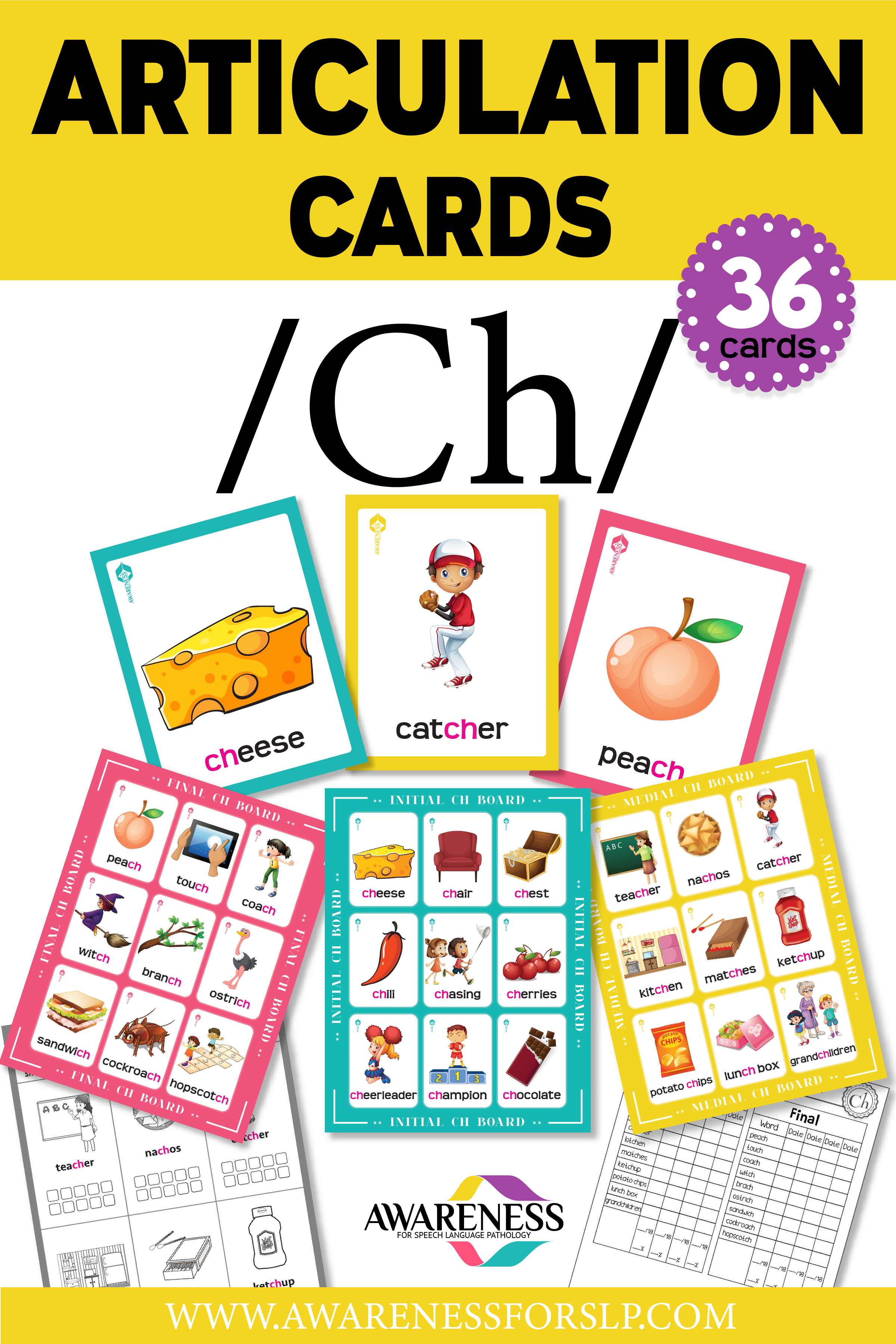 Ch Articulation Cards and Worksheets for Speech Therapy | Calling ...