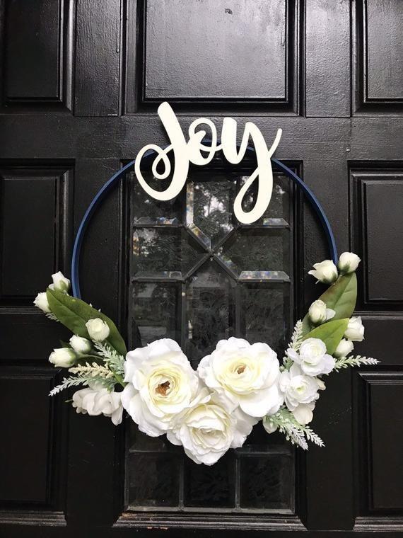 Photo of Winter Wreath,Modern Wreath,Minimalist wreath,Joy Wreath,Year round wreath,Front Door Wreath,Embroidery hoop wreath, designer wreath