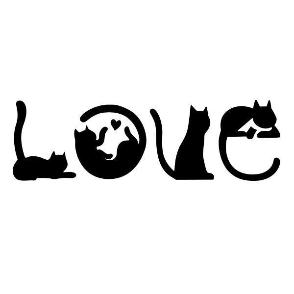 Photo of Etiqueta engomada de la etiqueta del vinilo del amor del gato para el corazón felino del sostenedor de botella de la ventana del coche / camión