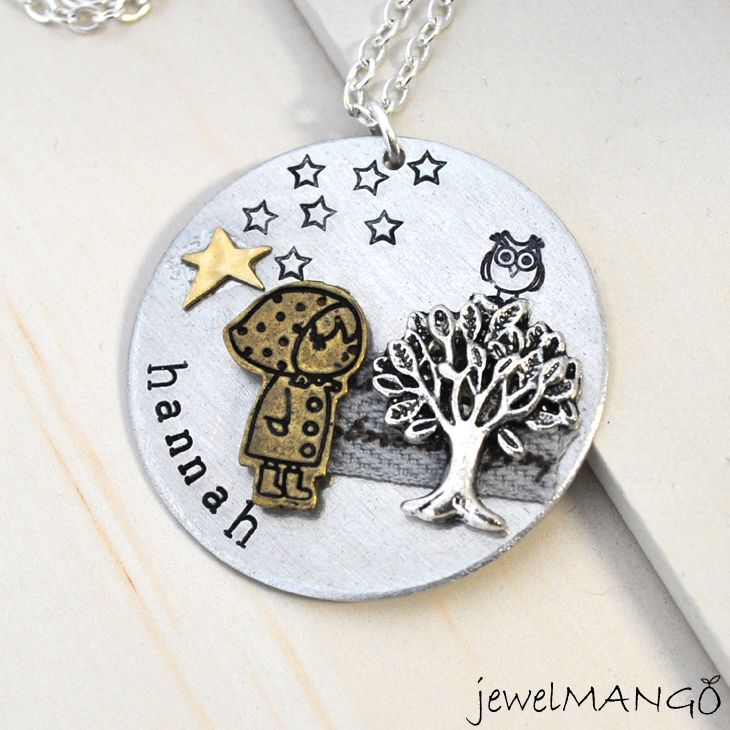Custom art necklace personalized jewelry special gifts tree owl custom art necklace personalized jewelry special gifts tree owl girl star hand stamped name necklace keepsake one of a kind gift aloadofball Images