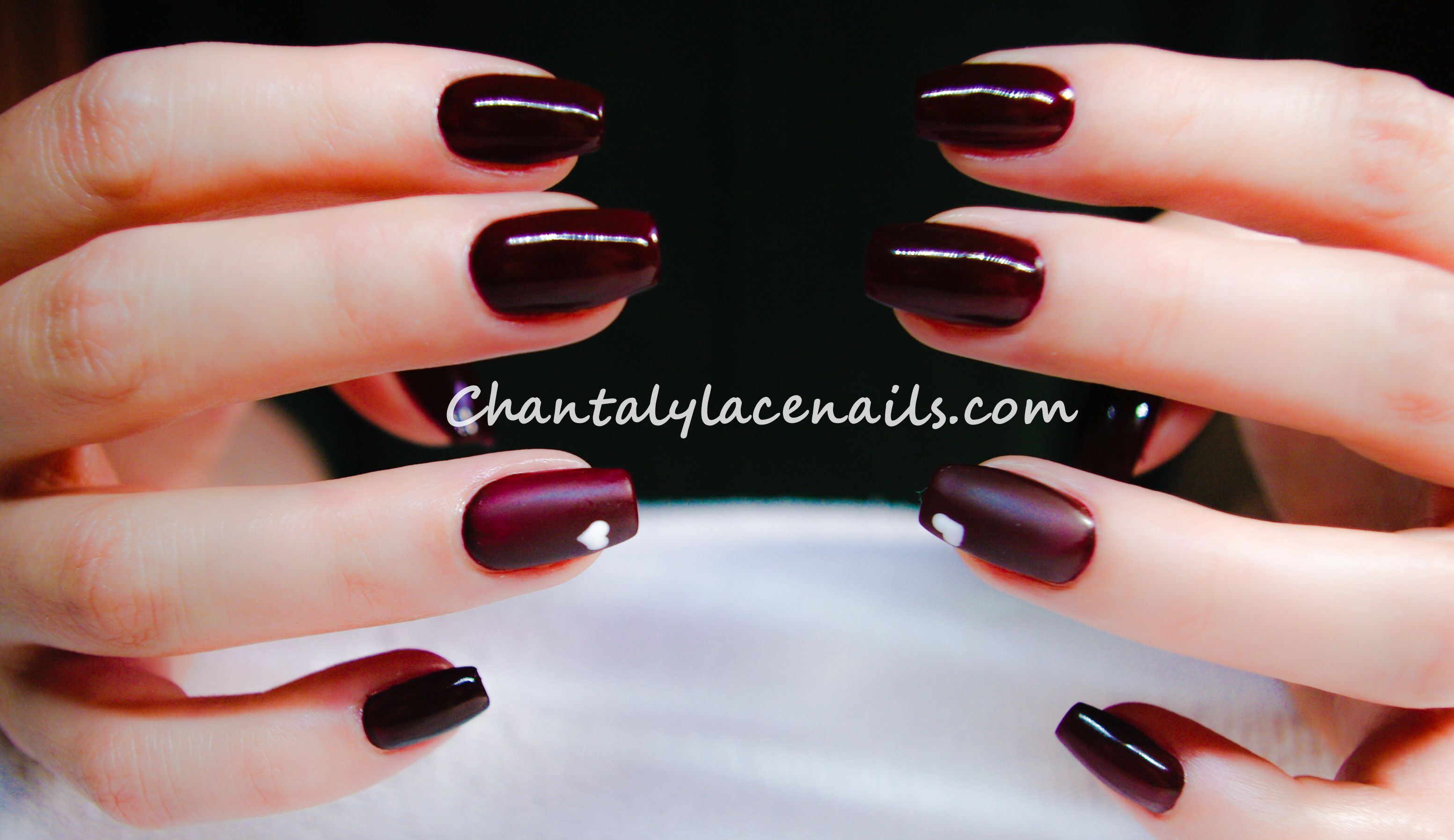 Deep Red/ballerina nails/ nail art heart | Nails by Chantalylace ...