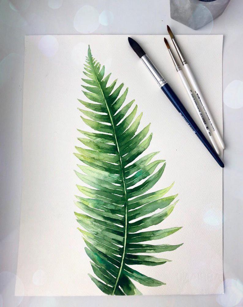 Fern watercolour painting, Plant original watercolour, Branch artwork, Leaf original art, Fern leaf watercolour, Watercolour tropical plant -   18 tropical plants Watercolor ideas