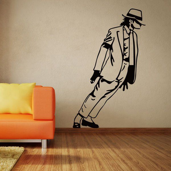 Fashion Michael Jackson Pattern With His Hat Dacing Vinyl Wall Sticker Decal