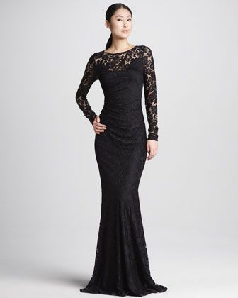 cc381a707a8d8 Hmmm...reminds me of Morticia Adams...David Meister Lace Long-Sleeve  Illusion Gown - Neiman Marcus