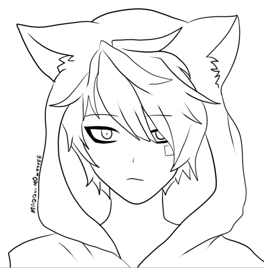 Line Drawing In C : Anime line art neko google search draw pinterest