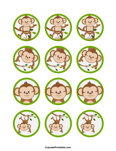 Monkey cupcake toppers. Use the circles for cupcakes, party favor tags, and more. Free printable PDF download at http://cupcakeprintables.com/toppers/monkey-cupcake-toppers/