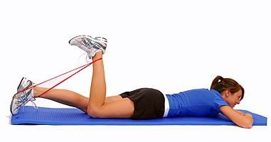 Thera-Band Loop Hamstring Curl in Prone http://www ...