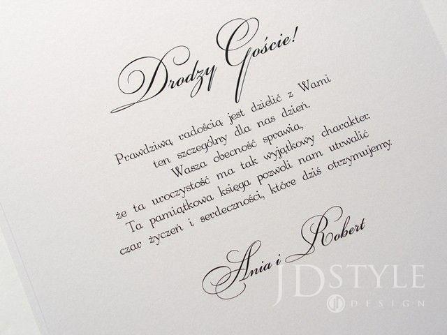 Piękna I Elegancka Księga Gości Weselnych 100str Pomysły