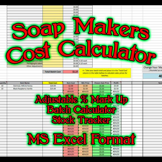 Soap Makers Cost Spreadsheet Ms Excel Soaping Calculator Costing