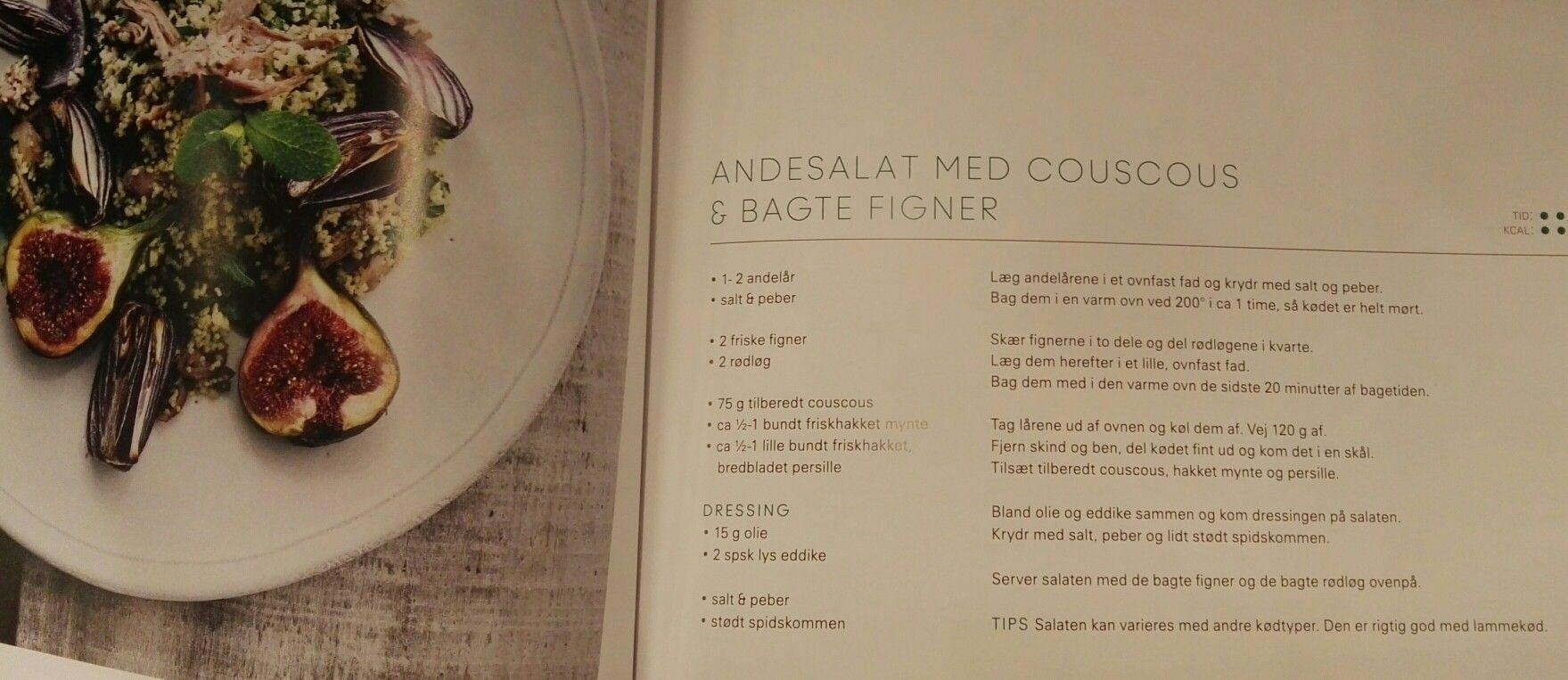 Andesalat Med Cous Cous Og Bagte Figner Salat Med Korn Ol