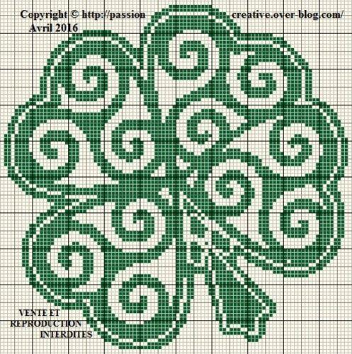Grille gratuite point de croix : Trèfle à quatre feuilles breton | Point de croix celtique, Mini ...