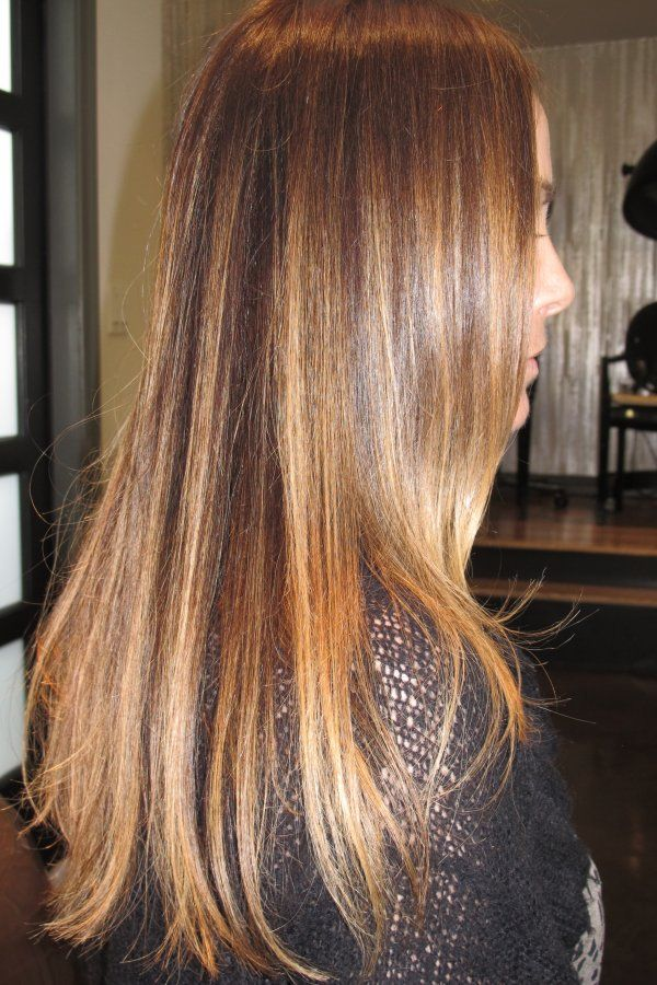 Heres A Side View Of A Brunette Hair Color With Highlights Red