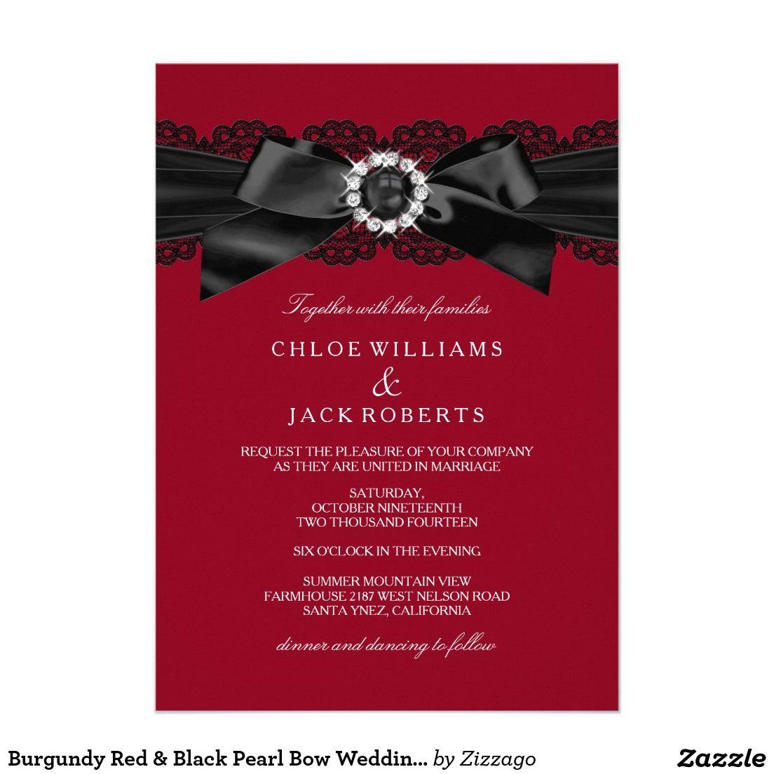 Burgundy Red & Black Pearl Bow Wedding Invite | Bow wedding, Wedding ...