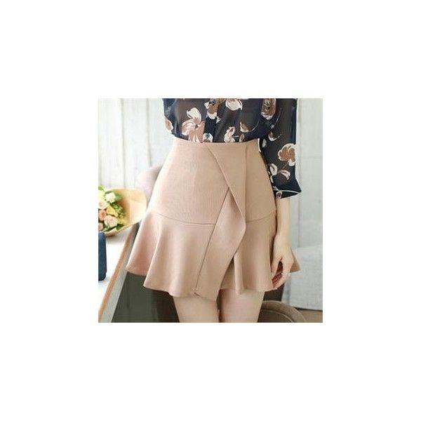 mimi & didi Ruffle-Hem A-Line Mini Skirt (1,015 MXN) ❤ liked on Polyvore featuring skirts, mini skirts, women, flounce hem skirt, beige skirt, short skirts, short a line skirt and beige mini skirt